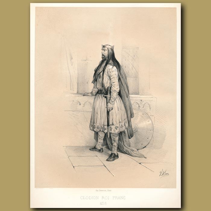 Antique print. Clodoin, King of France