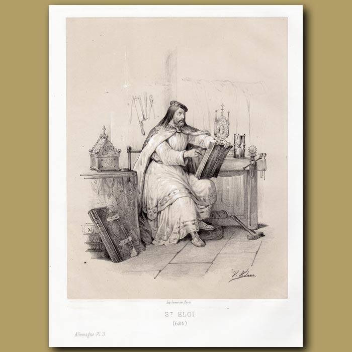 Antique print. St. Eloi