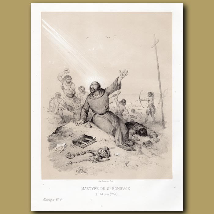 Antique print. The Martyrdom of St. Boniface in Germany 755 AD