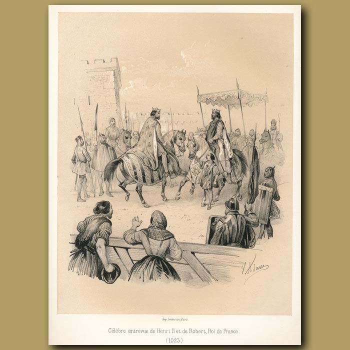 Antique print. Henry II and Robert, King of France (1023)