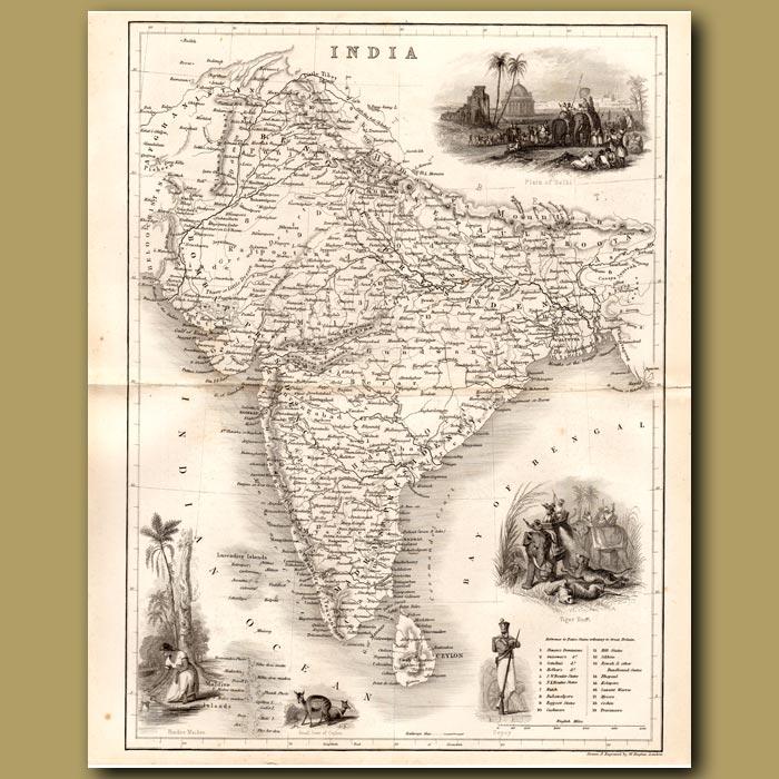 Antique print. Map of India