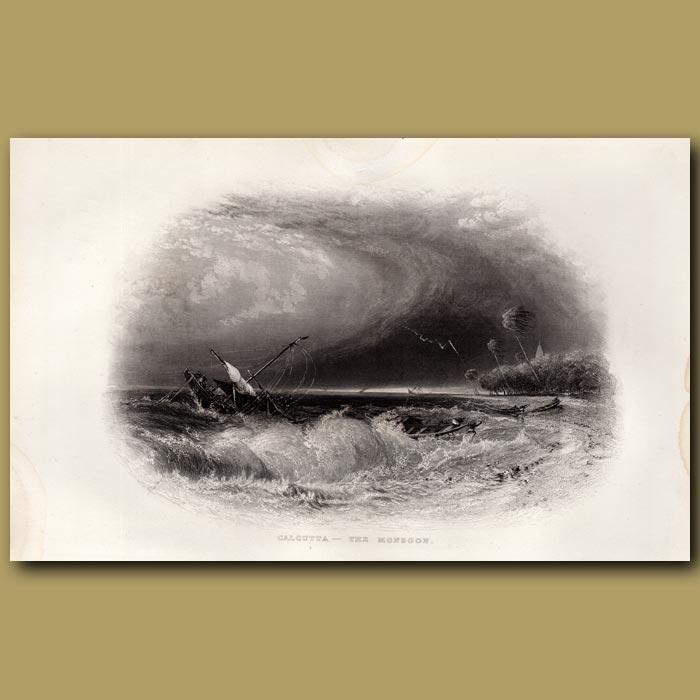 Antique print. Calcutta – The Monsoon