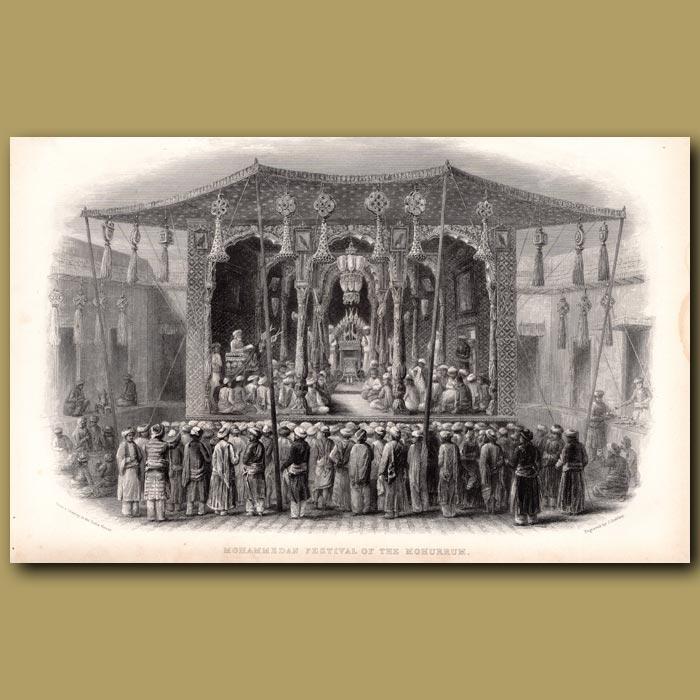 Antique print. Mohammedan Festival of the Mohurrum