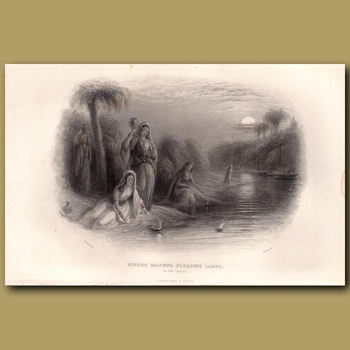 Antique print. Hindoo Maidens floating lamps in the Ganges