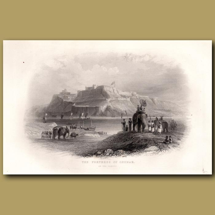 Antique print. The Fortress of Chunar on the Ganges