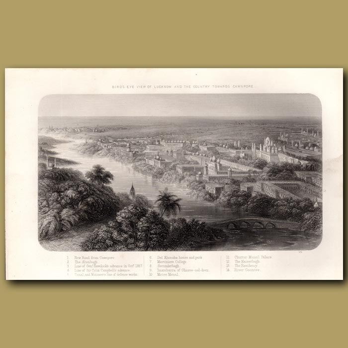 Antique print. Birds eye view of Lucknow and the country towards Cawnpore