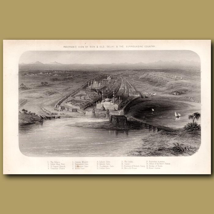 Antique print. Panoramic view of new and old Delhi and the surrounding country