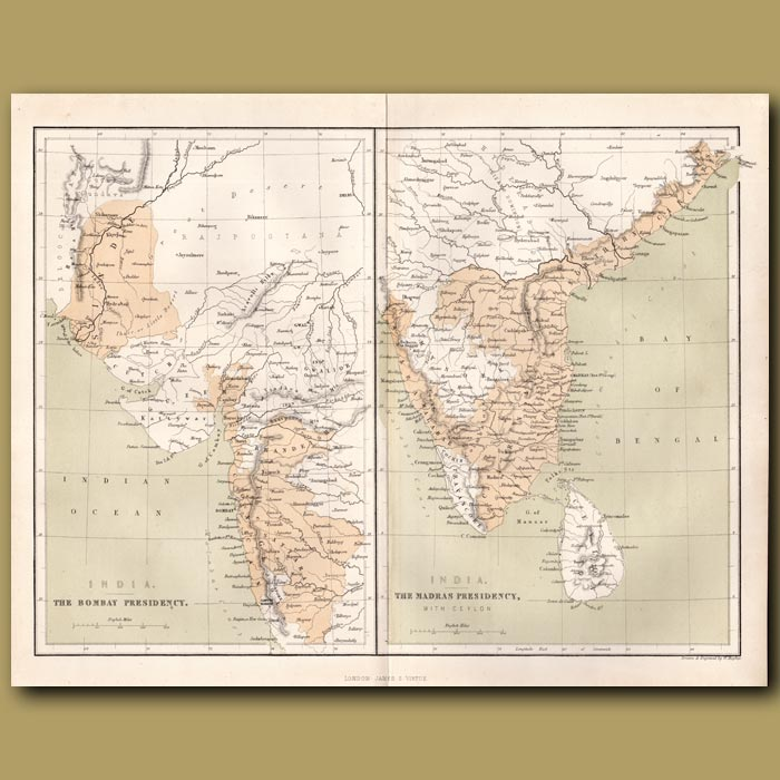 Antique print. Map of India- The Bombay Presidency and The Madras Presidency