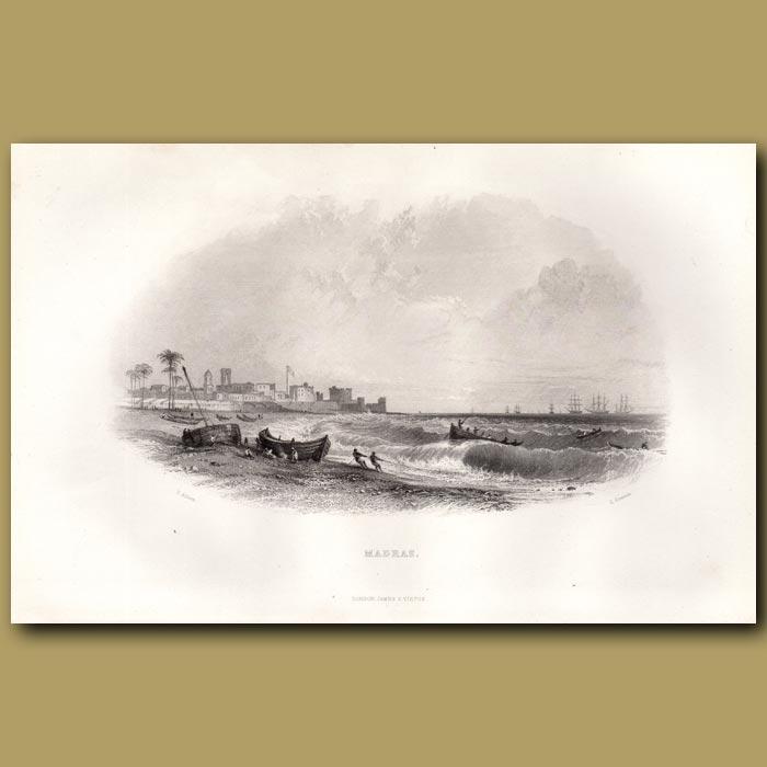 Antique print. Madras