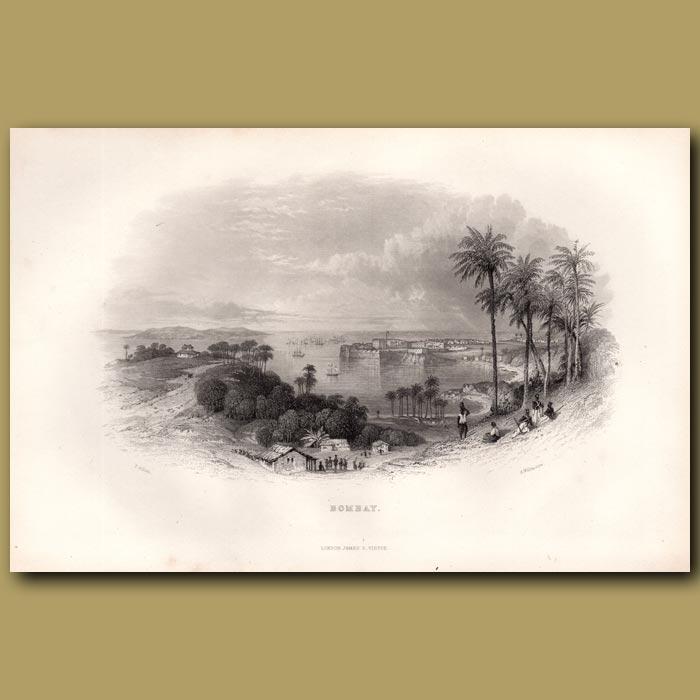 Antique print. Bombay