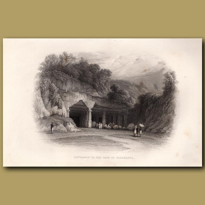 Antique print. Entrance to the cave at Elephanta