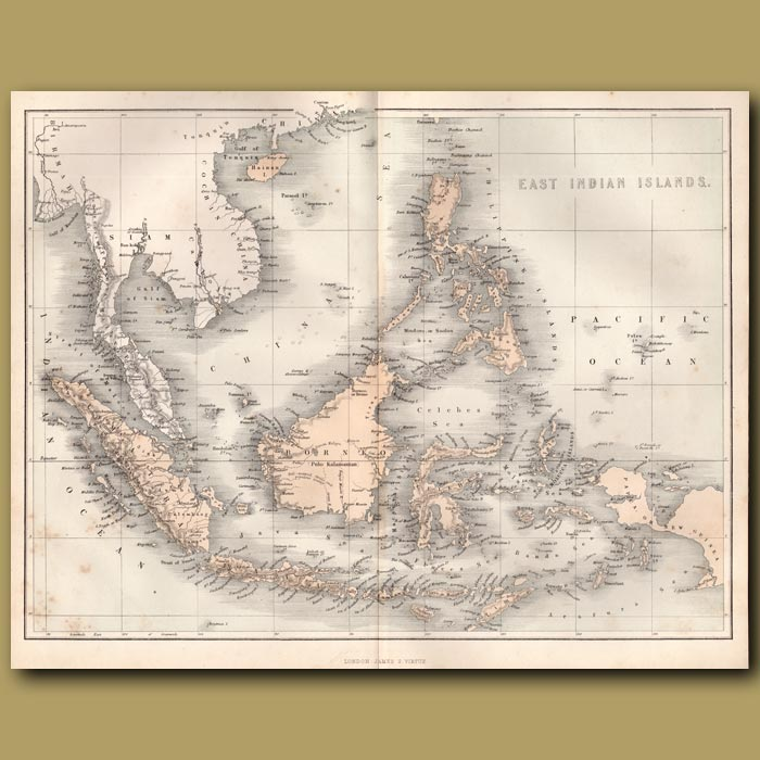 Antique print. Map of East Indian Islands