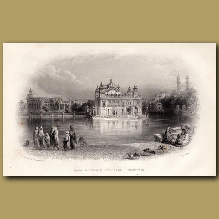 Antique print. Sacred Temple and Tank – Umritsir