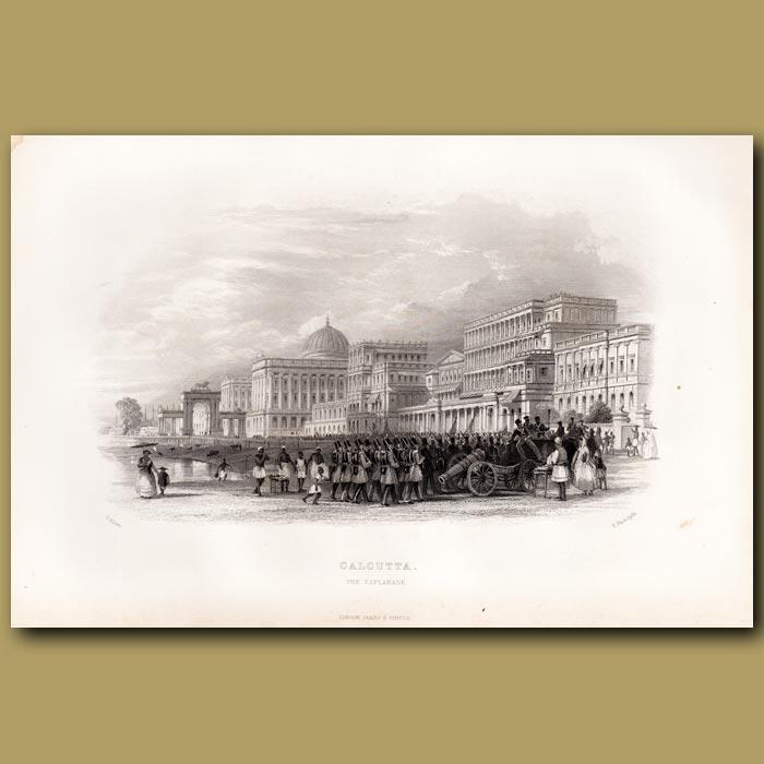Antique print. Calcutta – The Esplanade
