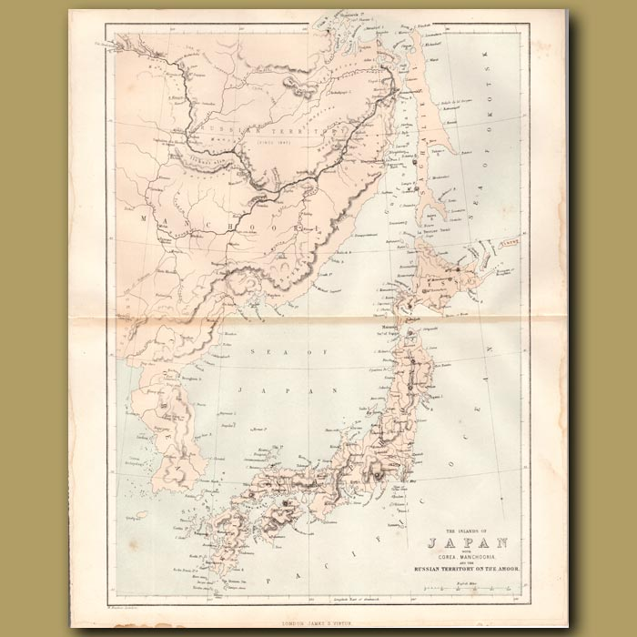Antique print. Map of the Islands of Japan