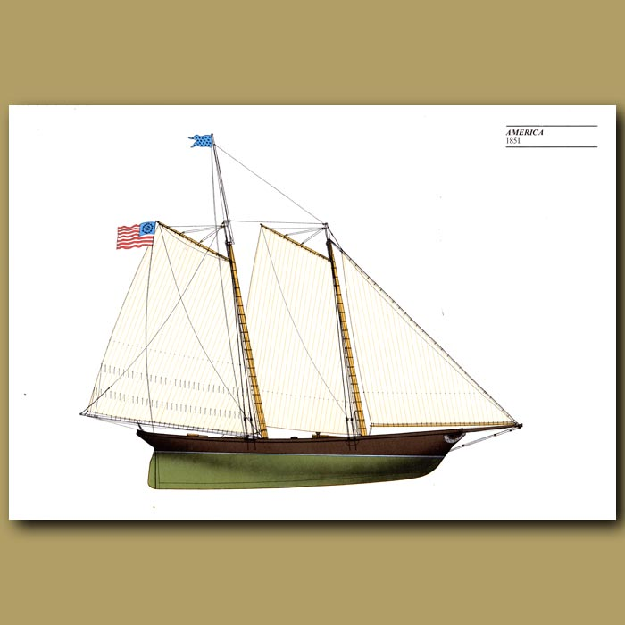 Antique print. America's Cup yacht: America 1851
