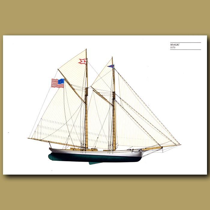 Antique print. America's Cup yacht: Magic 1870
