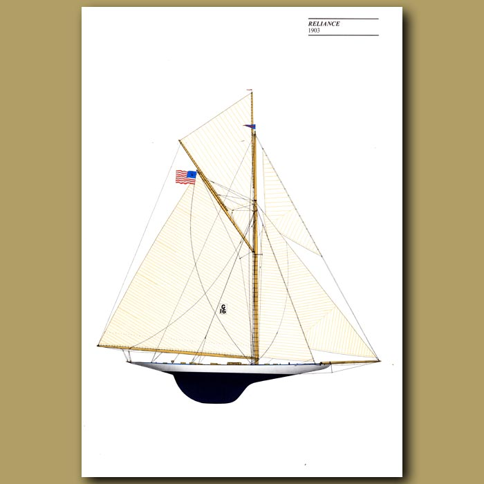 Antique print. America's Cup yacht: Reliance 1903