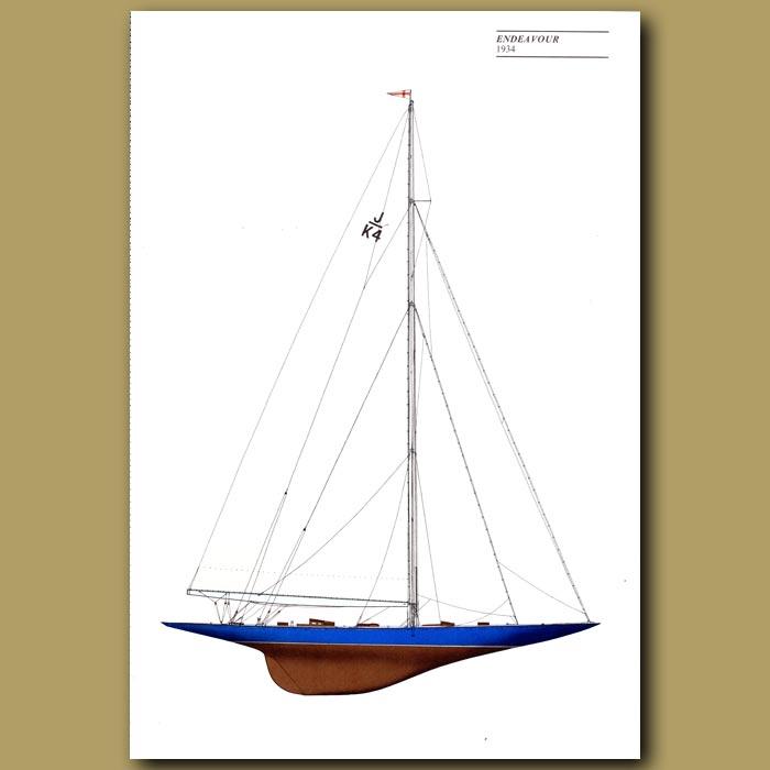 Antique print. America's Cup yacht: Endeavour 1934