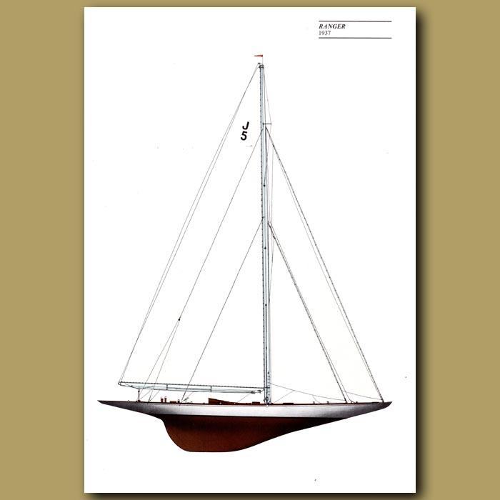 Antique print. America's Cup yacht: Ranger 1937