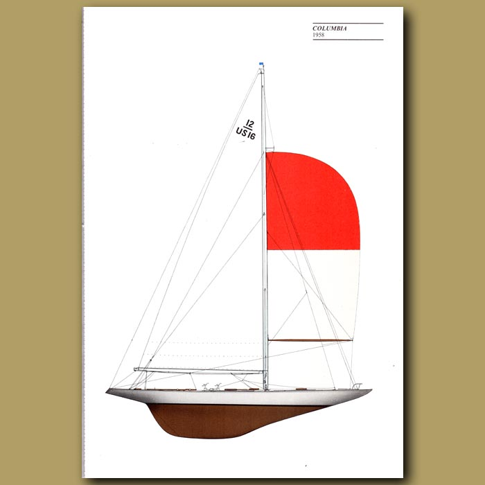 Antique print. America's Cup yacht: Columbia 1958