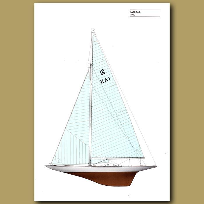 Antique print. America's Cup yacht: Gretel 1962