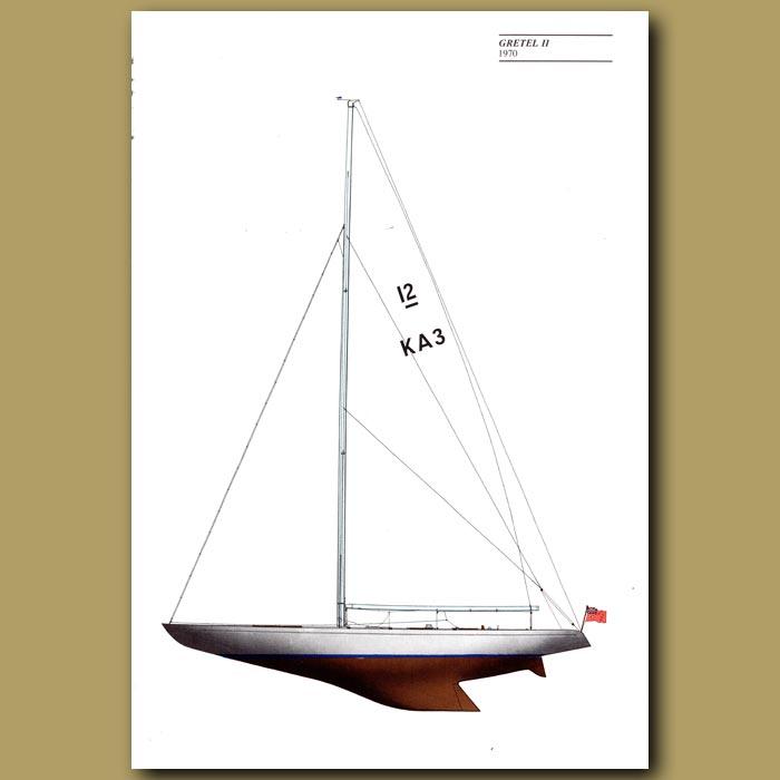 Antique print. America's Cup yacht: Gretel II 1970