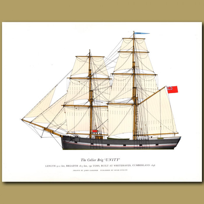 The Collier Brig 'Unity': Genuine antique print for sale.