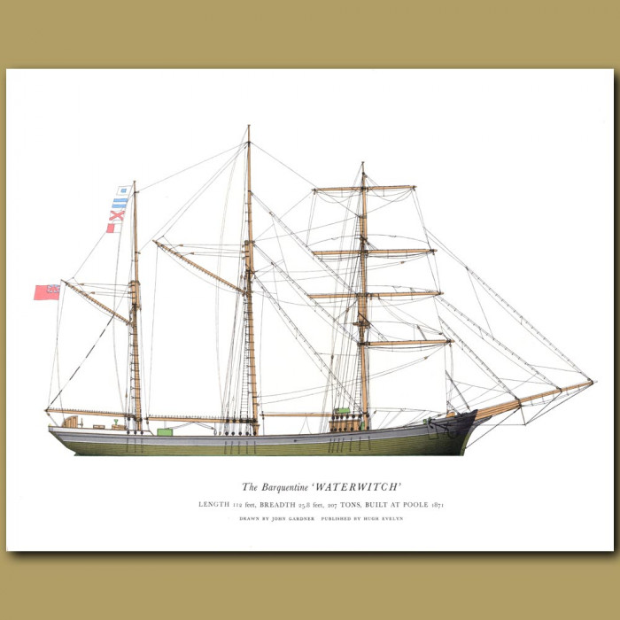 The Barquentine 'Waterwitch': Genuine antique print for sale.