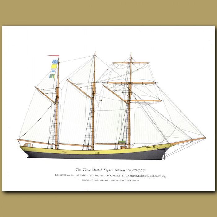 The Three Masted Topsail Schooner 'Result': Genuine antique print for sale.