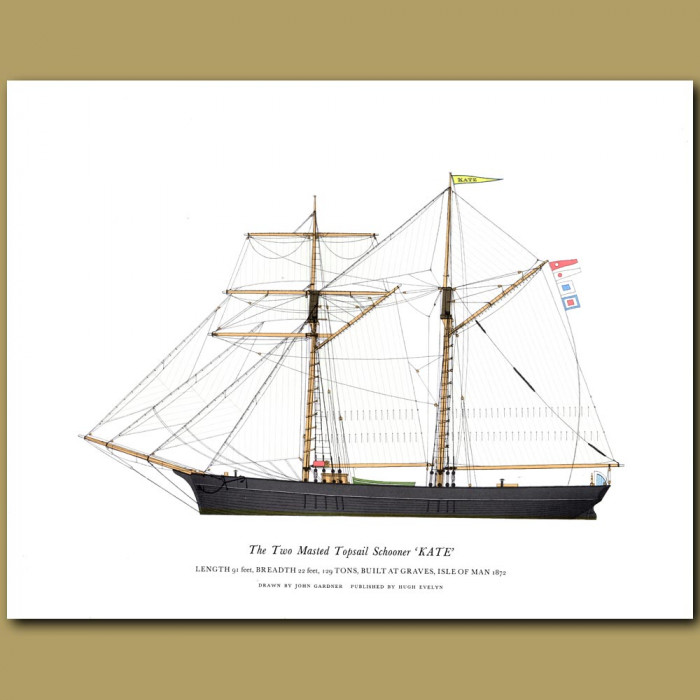 The Two Masted Topsail Schooner 'Kate': Genuine antique print for sale.