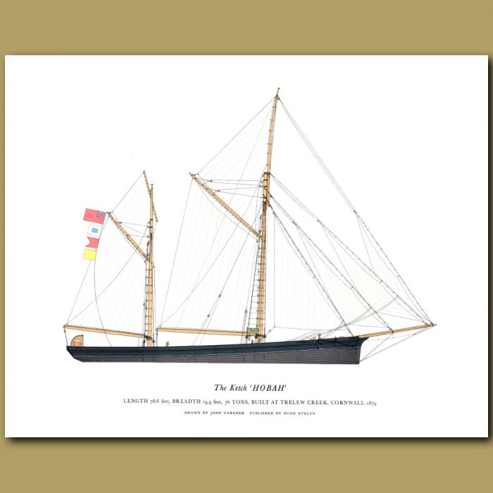 The Ketch 'Hobah': Genuine antique print for sale.