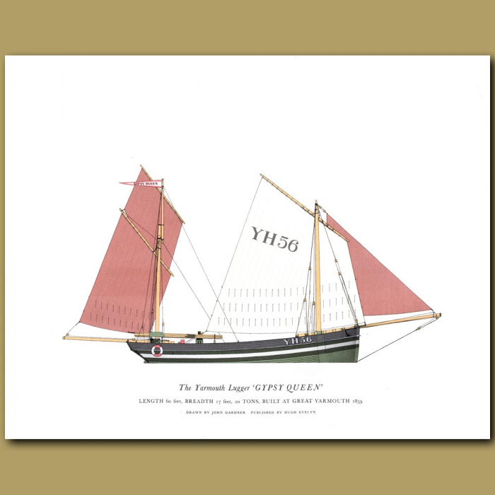The Yarmouth Lugger 'Gypsy Queen': Genuine antique print for sale.