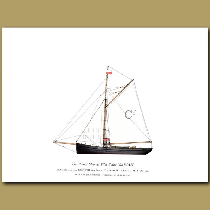 The Bristol Channel Pilot Cutter 'Cariad': Genuine antique print for sale.