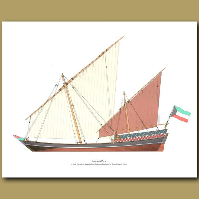 Arabian Dhow: Genuine antique print for sale.
