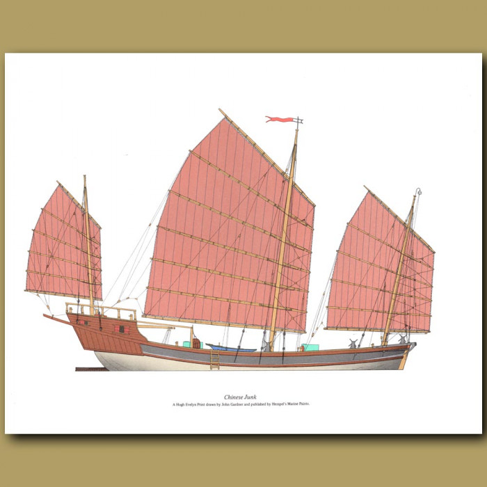 Chinese Junk: Genuine antique print for sale.