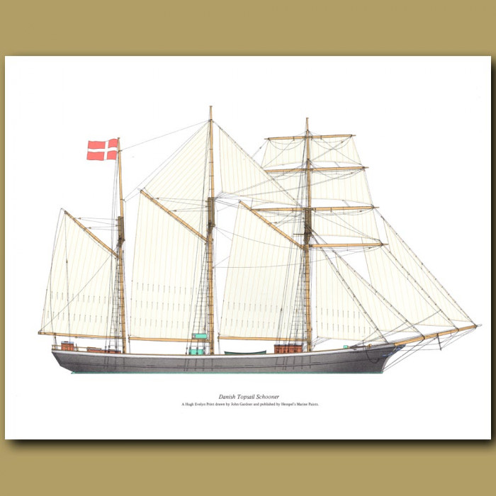 Danish Topsail Schooner: Genuine antique print for sale.