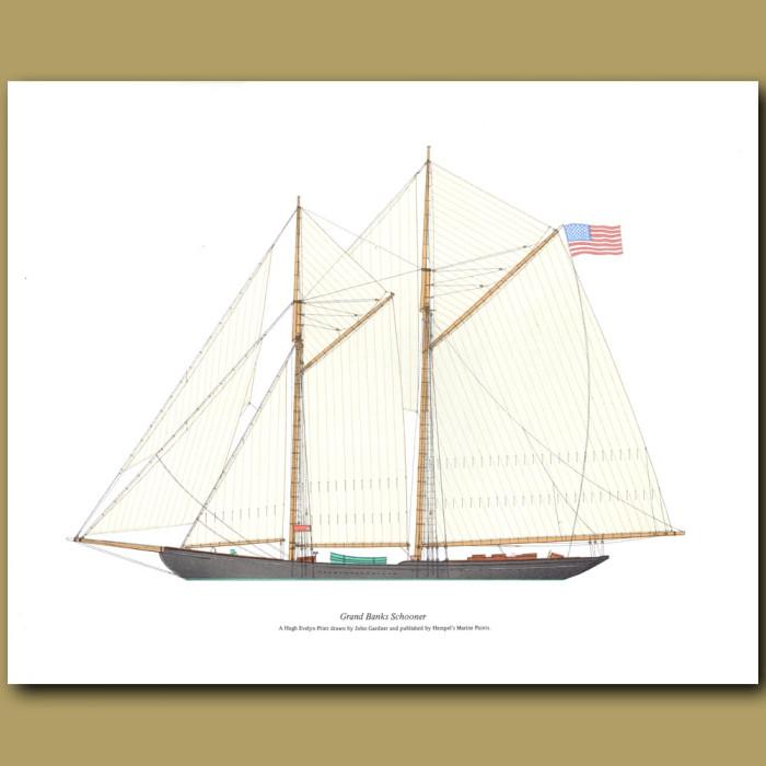 Grand Banks Schooner: Genuine antique print for sale.