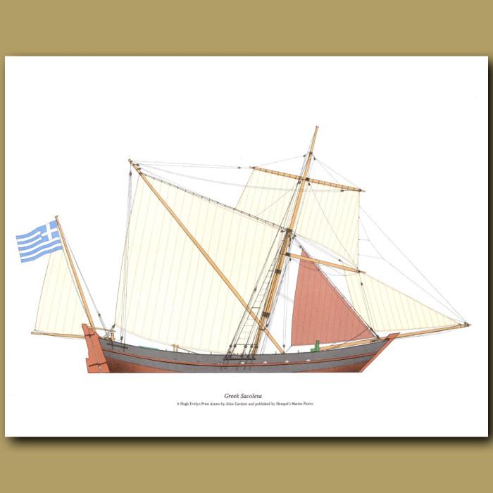 Greek Sacoleva Ship: Genuine antique print for sale.