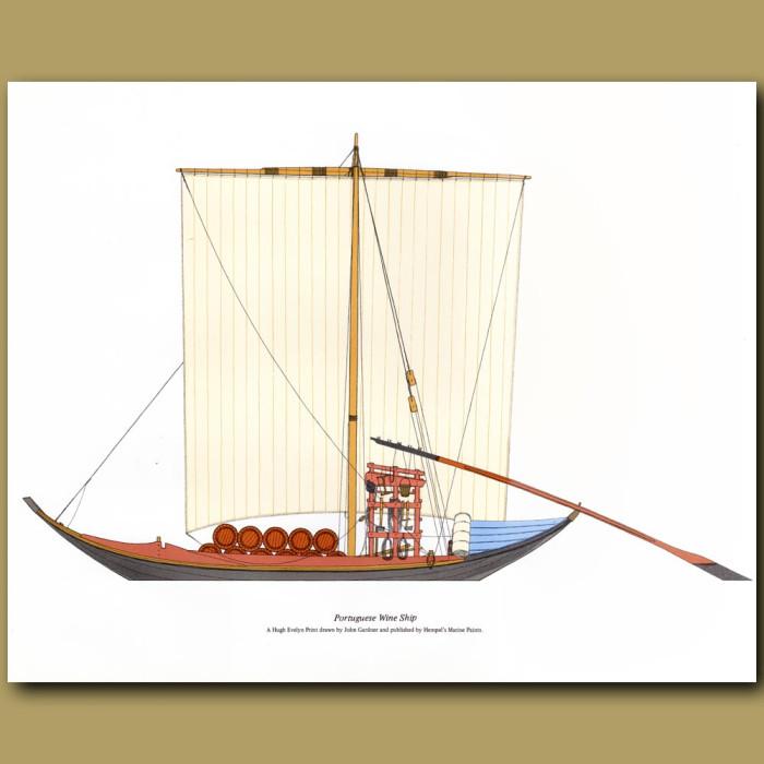 Portuguese Wine Ship: Genuine antique print for sale.
