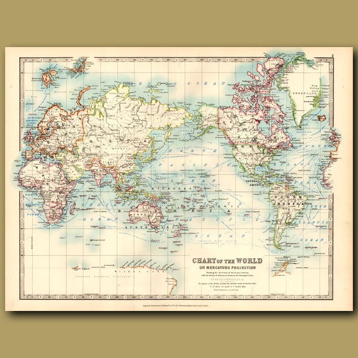 Antique print. Chart of the World on Mercator's Projection