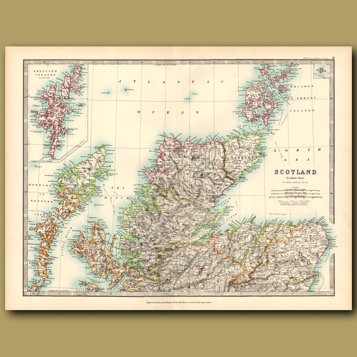 Antique print. Scotland with an inset of the Shetland Islands