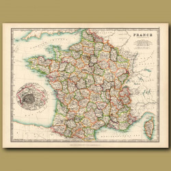 France With An Inset Of Corsica And A Plan Of Paris