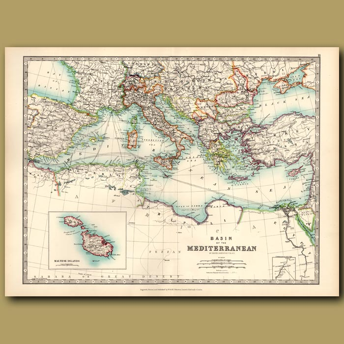 Antique print. Basin of the Mediterranean with an inset of the Maltese Islands