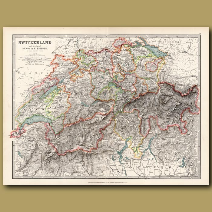 Antique print. Switzerland and the Alps of Savoy and Piedmont