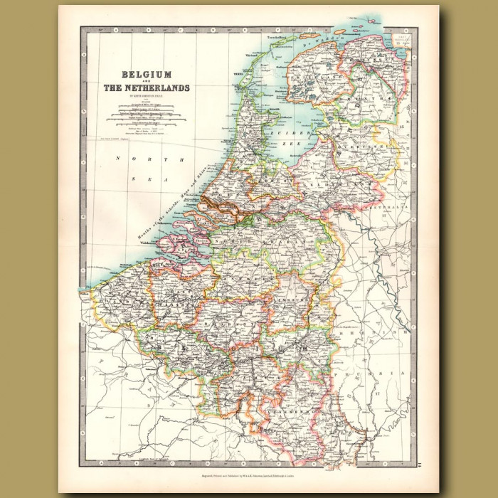 Antique map. Belgium and The Netherlands