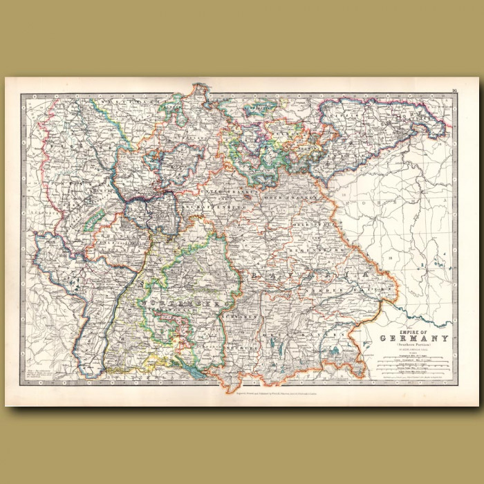 Antique map. Empire of Germany Southern Portion