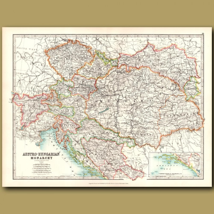 Antique map. Austro-Hungarian Monarchy