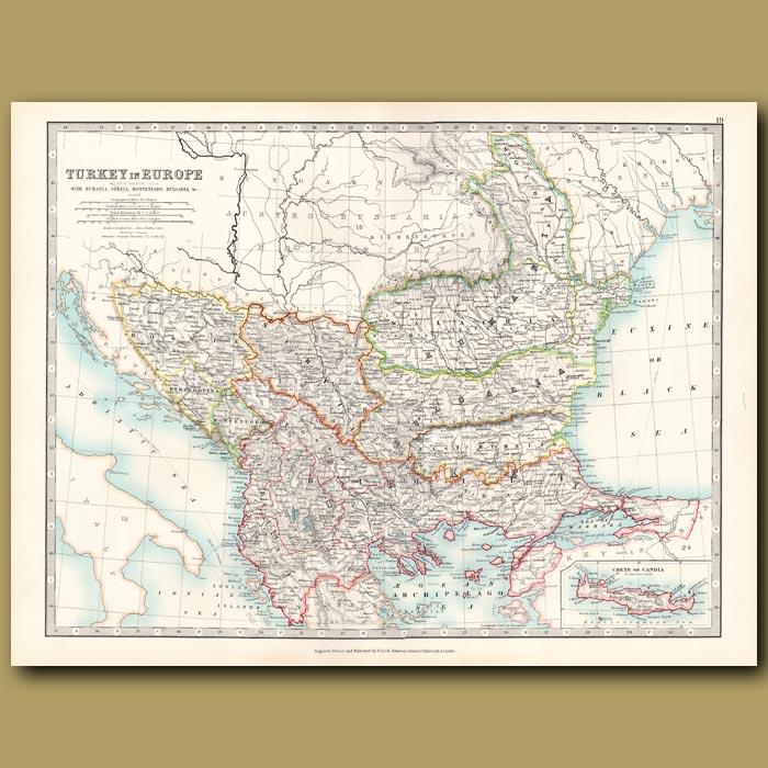 Antique print. Turkey in Europe