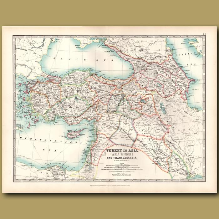 Antique map. Turkey in Asia and Transcaucasia